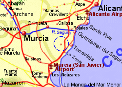 Map of the San Miguel de Salinas area, fully zoomed in