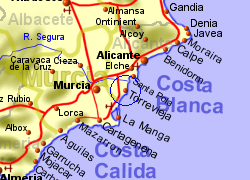 Map of the Torrevieja area, normal view