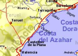 Map of the Peniscola area, normal view
