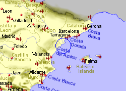 Map of the Vinaros area, fully zoomed out