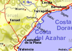 Map of the Vinaros area, normal view