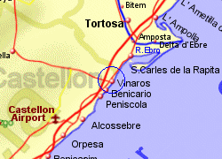 Map of the Vinaros area, fully zoomed in