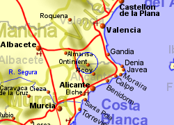 Map of the Ontinyent area, normal view