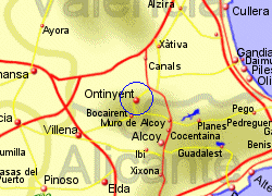 Map of the Ontinyent area, fully zoomed in