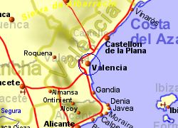 Map of the VALENCIA area, normal view